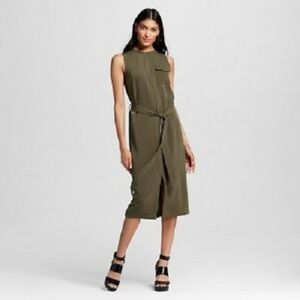 Olive Green Who What WEar Mid Calf Dress